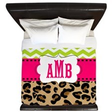 Pink Green Chevron Leopard Monogram King Duvet