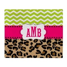Pink Green Chevron Leopard Monogram Throw Blanket