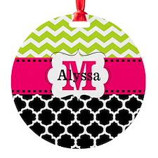 Pink Green Black Chevron Personalized Ornament