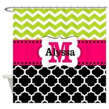 Pink Green Black Chevron Personalized Shower Curta