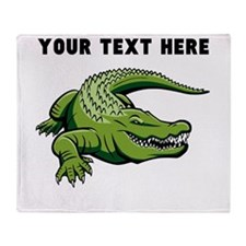 Custom Green Alligator Throw Blanket