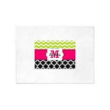 Pink Green Black Chevron Personalized 5'x7'Area Ru