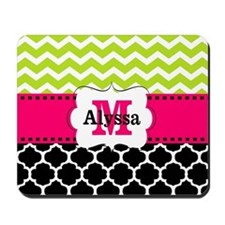 Pink Green Black Chevron Mousepad