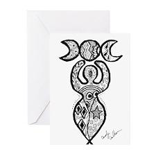 Triple Moon Goddess Greeting Cards