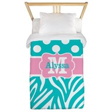 Pink Teal Dots Zebra Personalized Twin Duvet