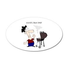 Worlds Best Dad Fun quote BBQ Chef Cartoon Decal W