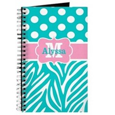 Pink Teal Dots Zebra Personalized Journal