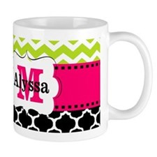 Pink Green Chevron Leopard Monogram Mugs
