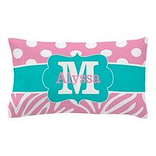 Pink Teal Chevron Zebra Personalized Pillow Case