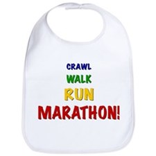 Crawl Walk Run Marathon Baby Bib