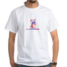 Play Hard Lacrosse Goalie Red White Blue T-Shirt