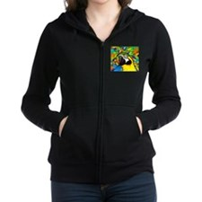 Gold and Blue Macaw Parrot Fantasy Women's Zip Hoo