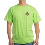 Embedded Masonic Compasses Green T-Shirt
