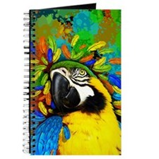 Gold and Blue Macaw Parrot Fantasy Journal