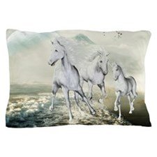 White Horses On The Beach Pillow Case