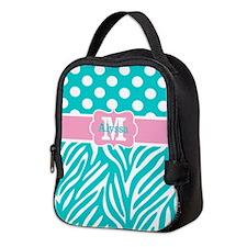 Teal Pink Dots Zebra Personalized Neoprene Lunch B