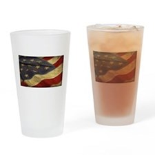 Distressed Vintage American Flag Drinking Glass