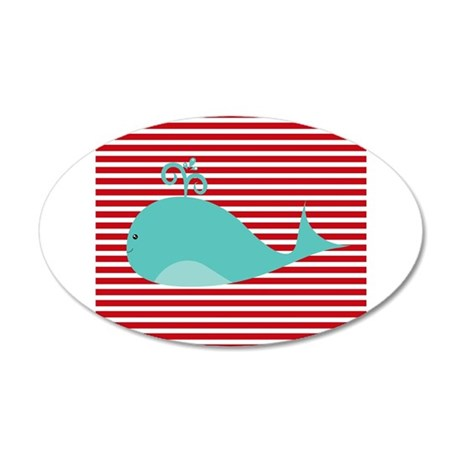 Whale on Red and White Stripes Wall Decal