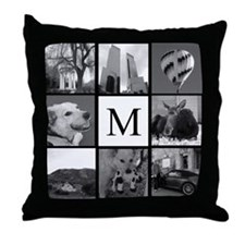 Monogrammed Photo Block Throw Pillow
