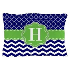 Navy Lime Green Chevron Personalized Pillow Case