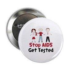 """Stop Aids Get Tested 2.25"""" Button (100 pack)"""