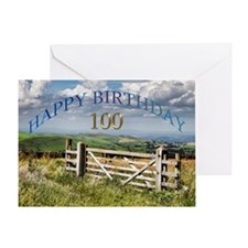 100th Birthday, a landscape with a gate Greeting C