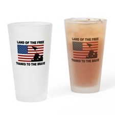 Land Of The Free Thanks To The Brave Drinking Glas