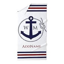 Anchor Nautical Monogram Beach Towel