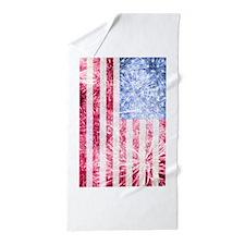 4th of July - American Firework Flag Beach Towel