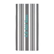 Gray and Turquoise Stripes Custom Beach Towel