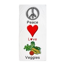 Peace Love Veggies Beach Towel