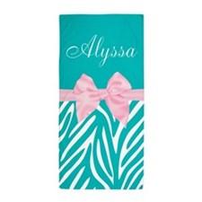 Teal Pink Bow Zebra Personalized Beach Towel