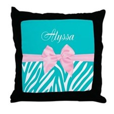 Teal Pink Bow Zebra Personalized Throw Pillow