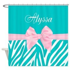 Teal Pink Bow Zebra Personalized Shower Curtain For