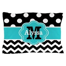 Blue Black Chevron Dots Personalized Pillow Case