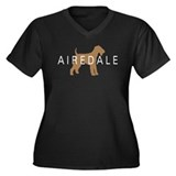 Airedale Women's Plus Size V-Neck Dark T-Shirt