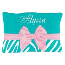 Pink Teal Bow Zebra Personalized Pillow Case