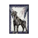 Great Dane Angel Black UC Rectangle Magnet