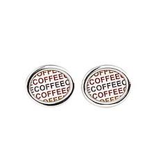 Coffee Coffee Coffee Oval Cufflinks