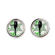 Green Cheerleader Round Cufflinks