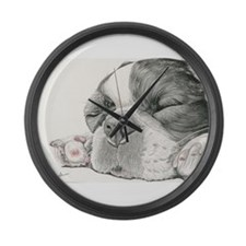 Sleepy French Bulldog Large Wall Clock