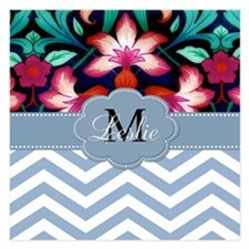Monogram with ZigZag and Floral Invitations