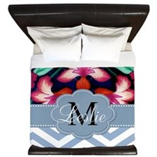 Monogram with ZigZag and Floral King Duvet