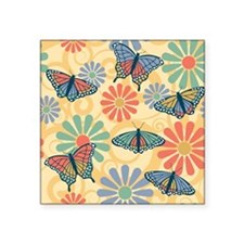"Butterflies and Flowers Square Sticker 3"" x 3"""