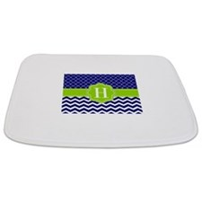 Navy Lime Green Chevron Personalized Bathmat