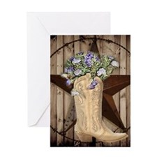 cowboy boots western country barn wood Greeting Ca