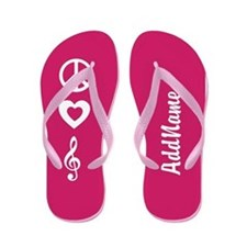 Pink Custom Peace, Love, Music Flip Flops