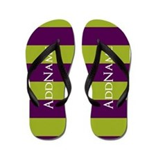 Green and Purple Stripes Flip Flops