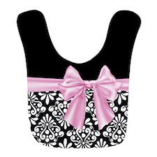 Pink Black Damask Bow Bib