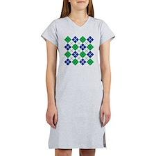 Argyle Design in Blue and Green Women's Nightshirt